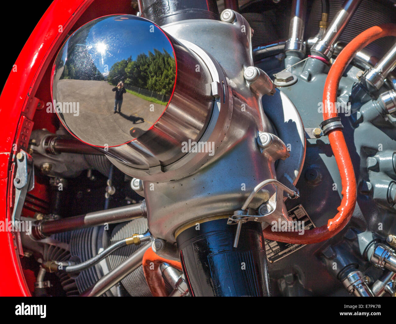Selfie in an airplane engine. A Pratt & Whitney aircraft engine with a reflection of the photographer in the - Stock Image
