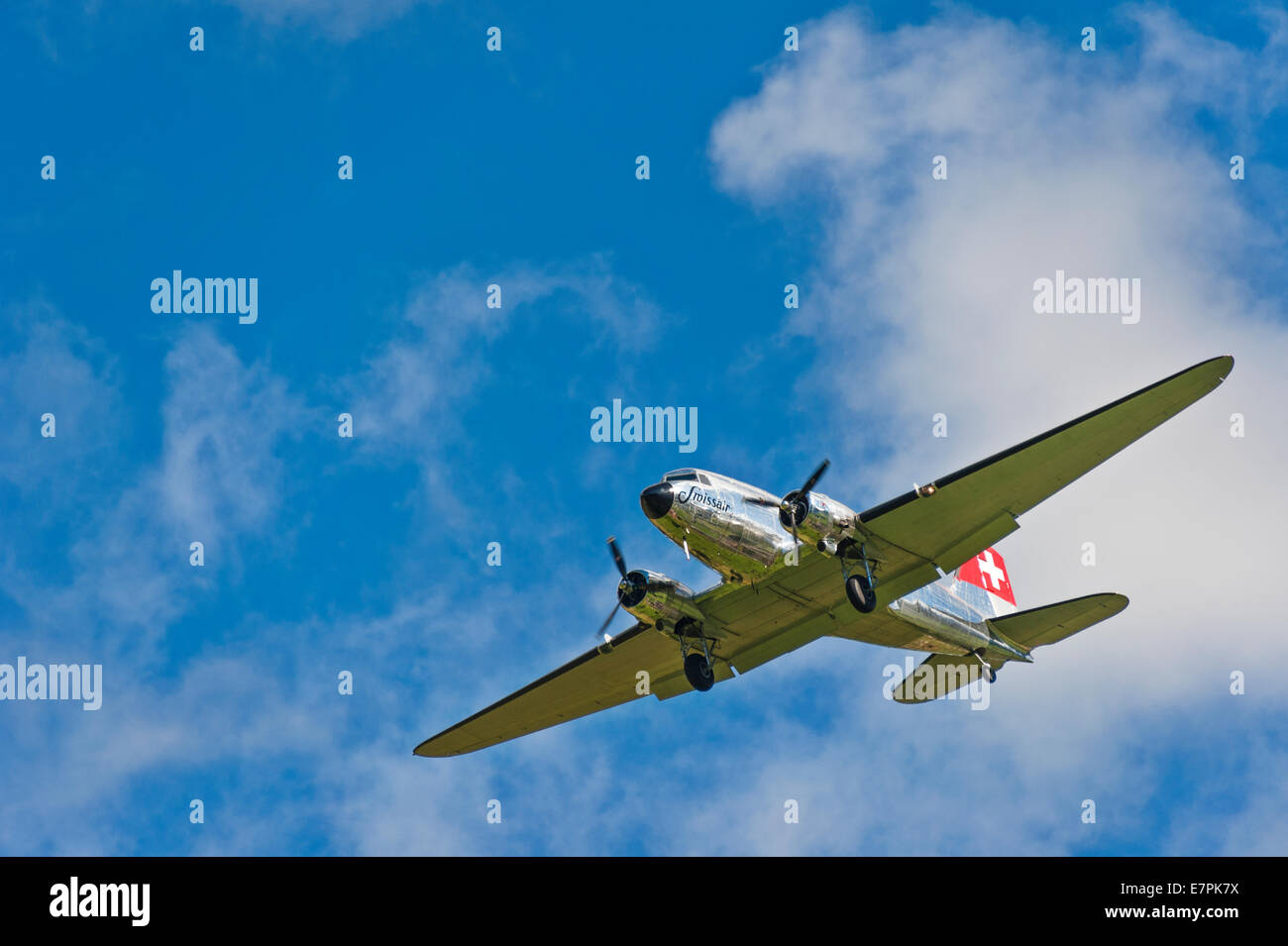A vintage Douglas DC-3 (Dakota) aircraft of Swissair, coming in to land Stock Photo