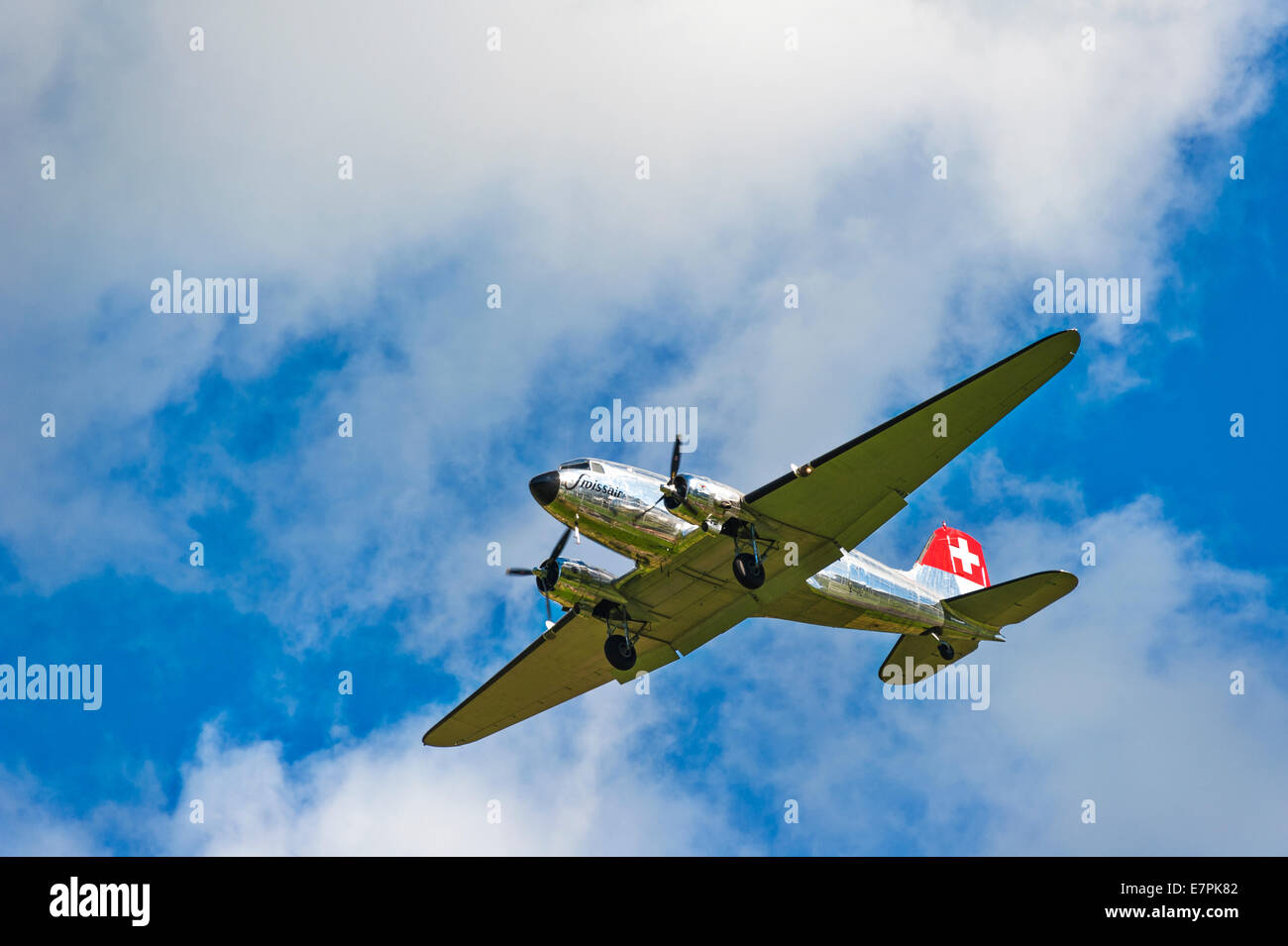 A Douglas DC-3 (Dakota) of Swissair, coming in to land Stock Photo