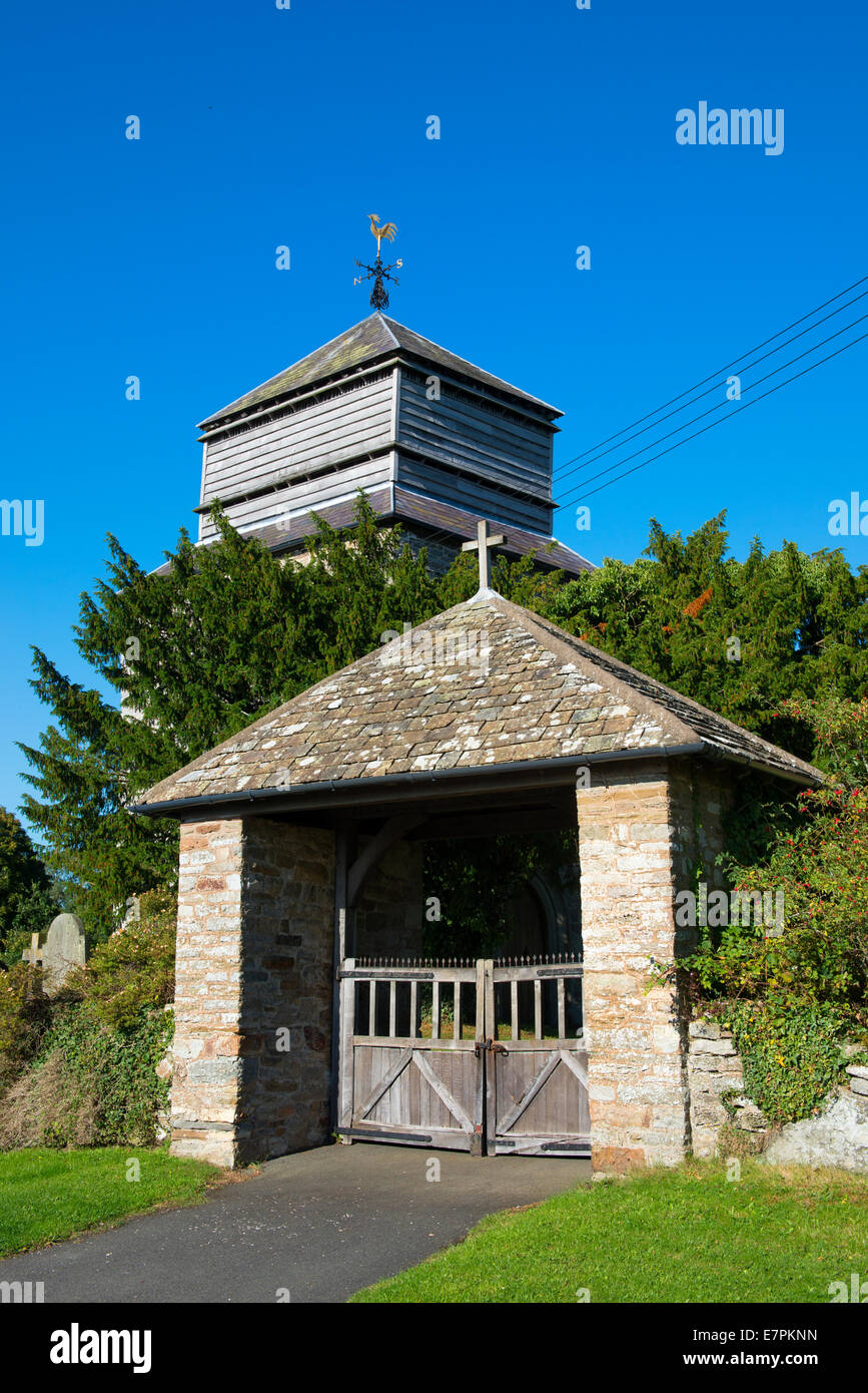 The church of St Bartholomew in the Shropshire village of More, England. - Stock Image