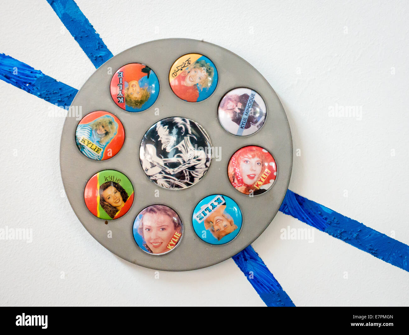 Roundel of Kylie Minogue badges on the badge wall artwork at Colston Hall Bristol UK - Stock Image