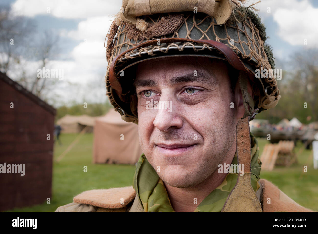 Re-enactment WWII GI soldier - Stock Image