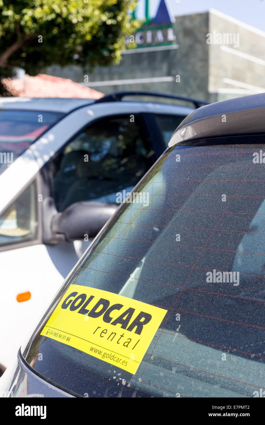 A Goldcar rented car outside La Cañada shopping centre in Marbella, Costa del Sol, Andalucia, Spain. - Stock Image