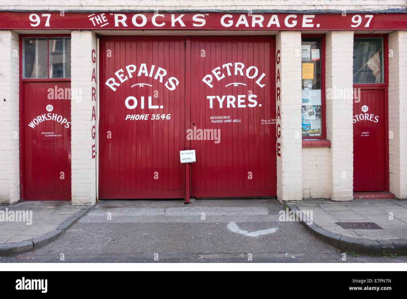Artwork doors of Rocks Garage in Clifton village Bristol - Stock Image