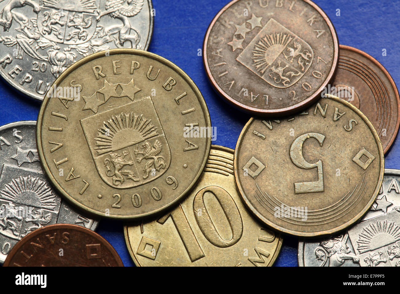Coins of Latvia. Old Latvian lats and santimi coins. - Stock Image