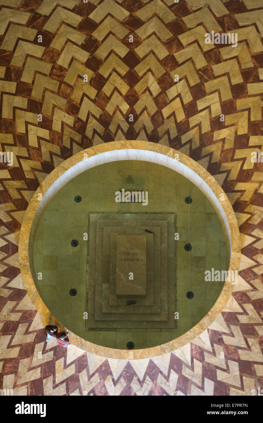 A view looking down from the dome of the Voortrekker Monument in Pretoria, South Africa. - Stock Image