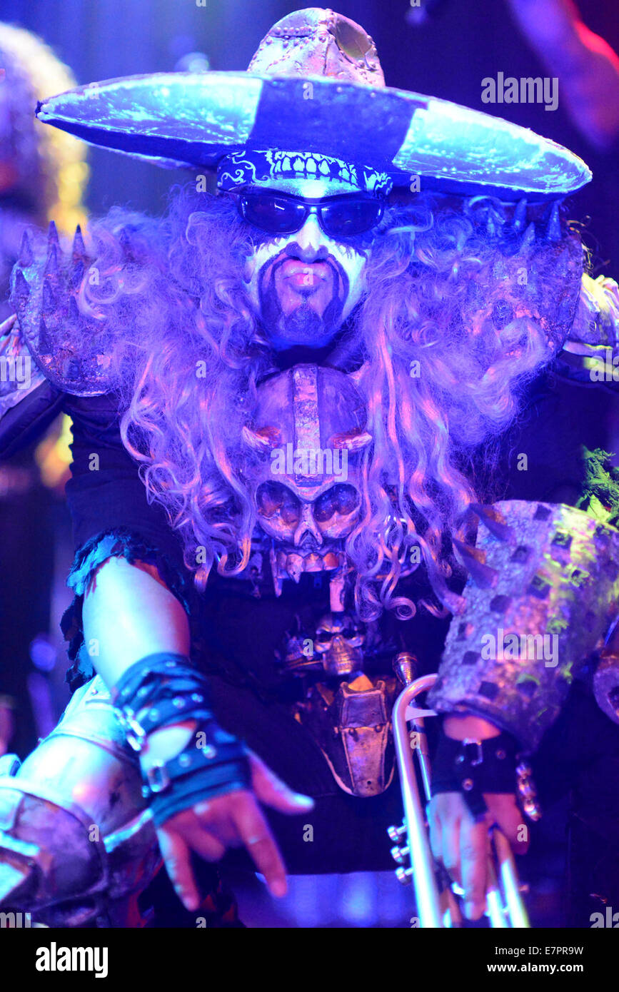 West Hollywood, California, USA. 22nd Sep, 2014. Musician - EL CUCUY on stage with Metalachi at the Whisky A Go Stock Photo