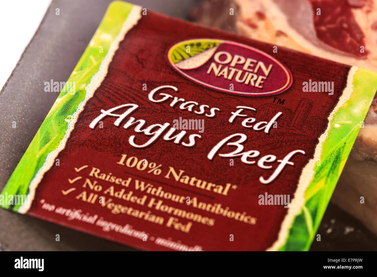 Open Nature Grass Fed Angus Beef Ribeye Steak Stock Photo