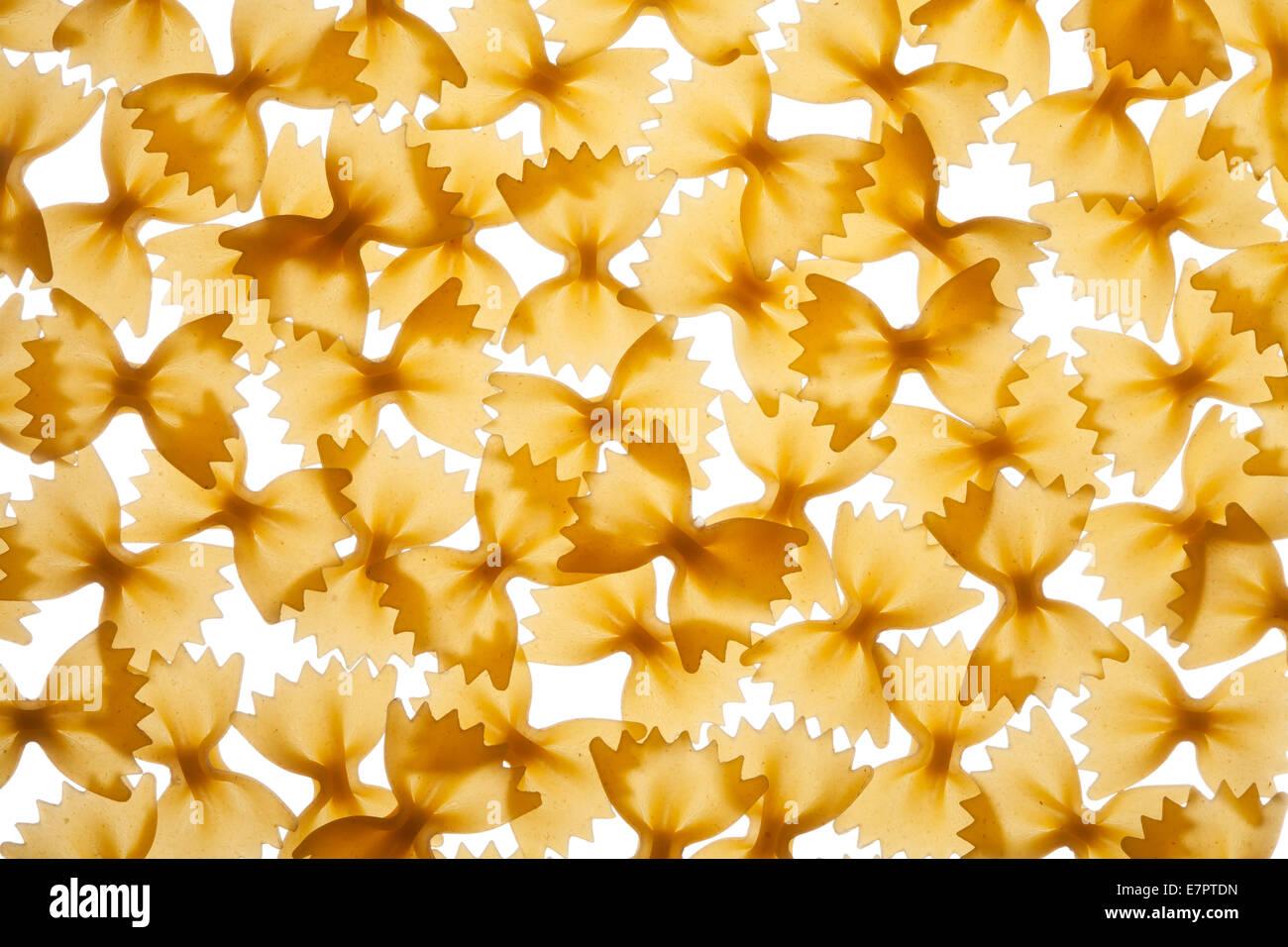 Italian raw pasta farfalle, bow tie, butterfly - Stock Image