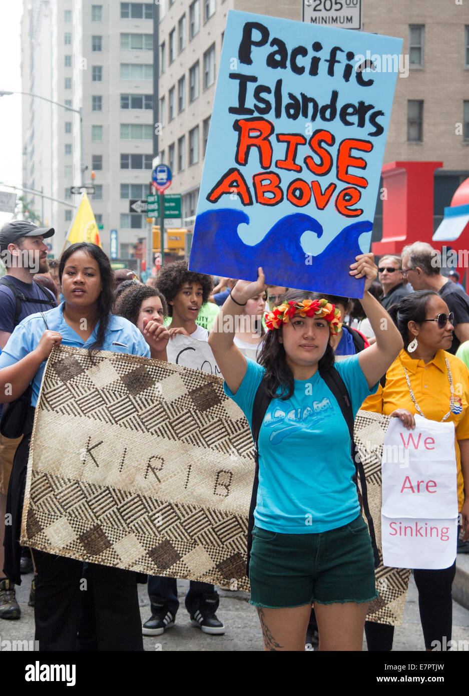 New York, New York USA - 21 September 2014 - Pacific Islanders, whose homes are threatened by rising sea levels, - Stock Image