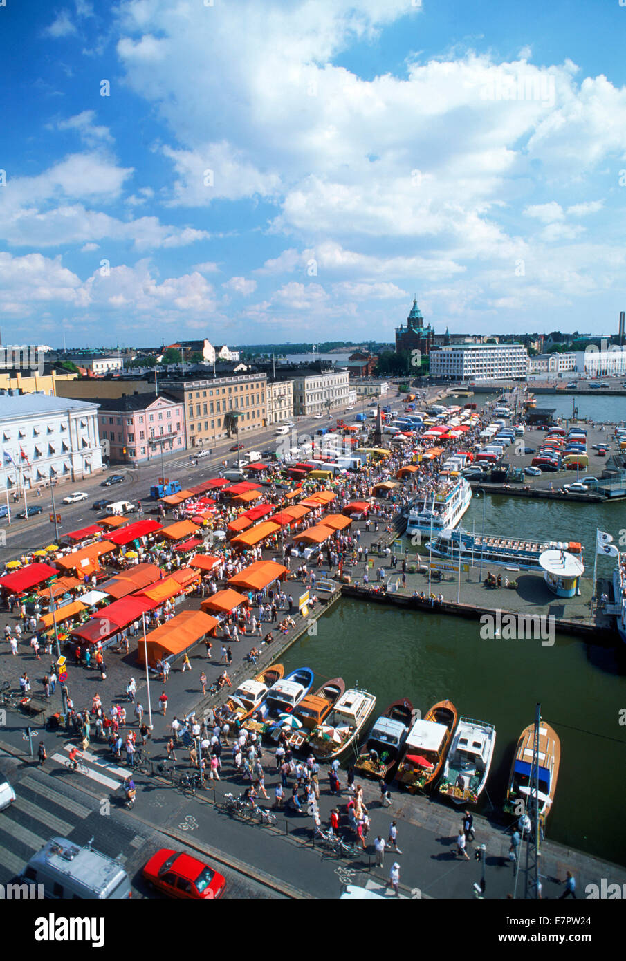 Market Square on South Harbor with Uspensky Cathedral in Helsinki - Stock Image