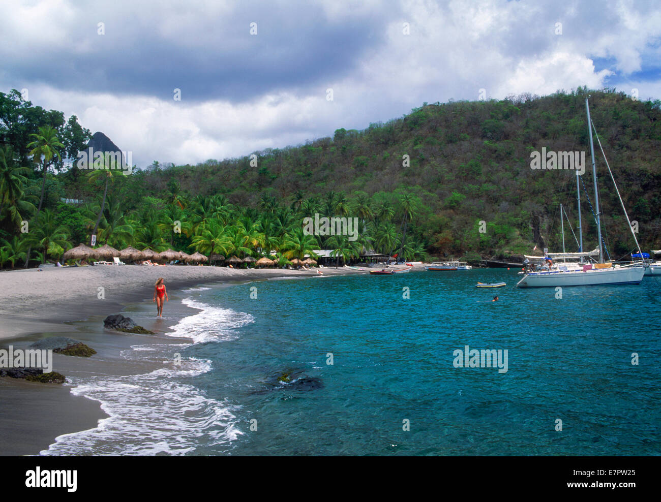 Anse Chastanet Hotel beach on Caribbean island St Lucia in West Indies - Stock Image