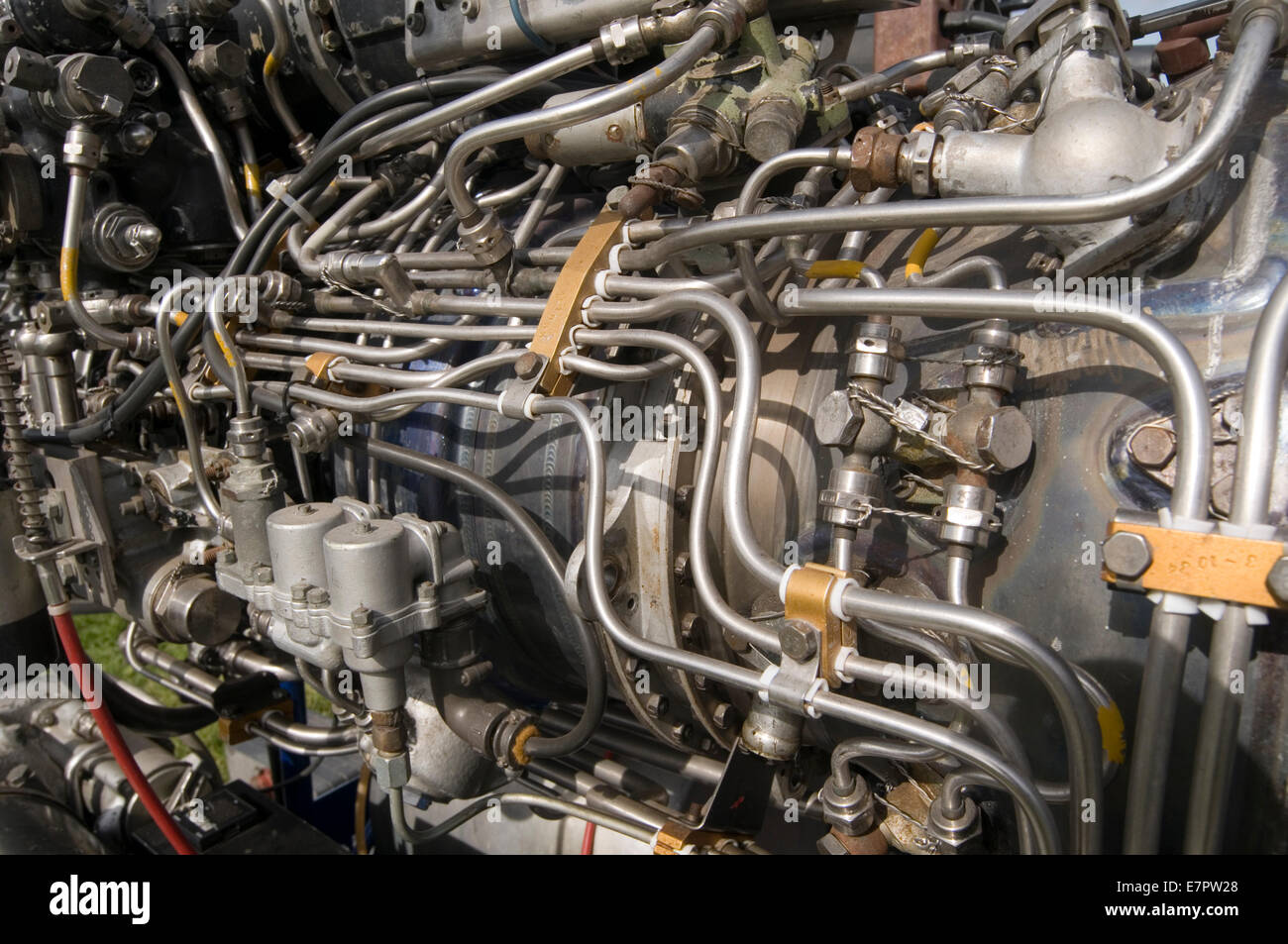 jet engine engines fuel system propulsion propelled - Stock Image
