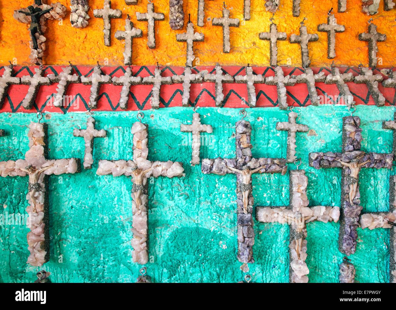 Quartz Crosses for sale in Guanajuato, Mexico - Stock Image