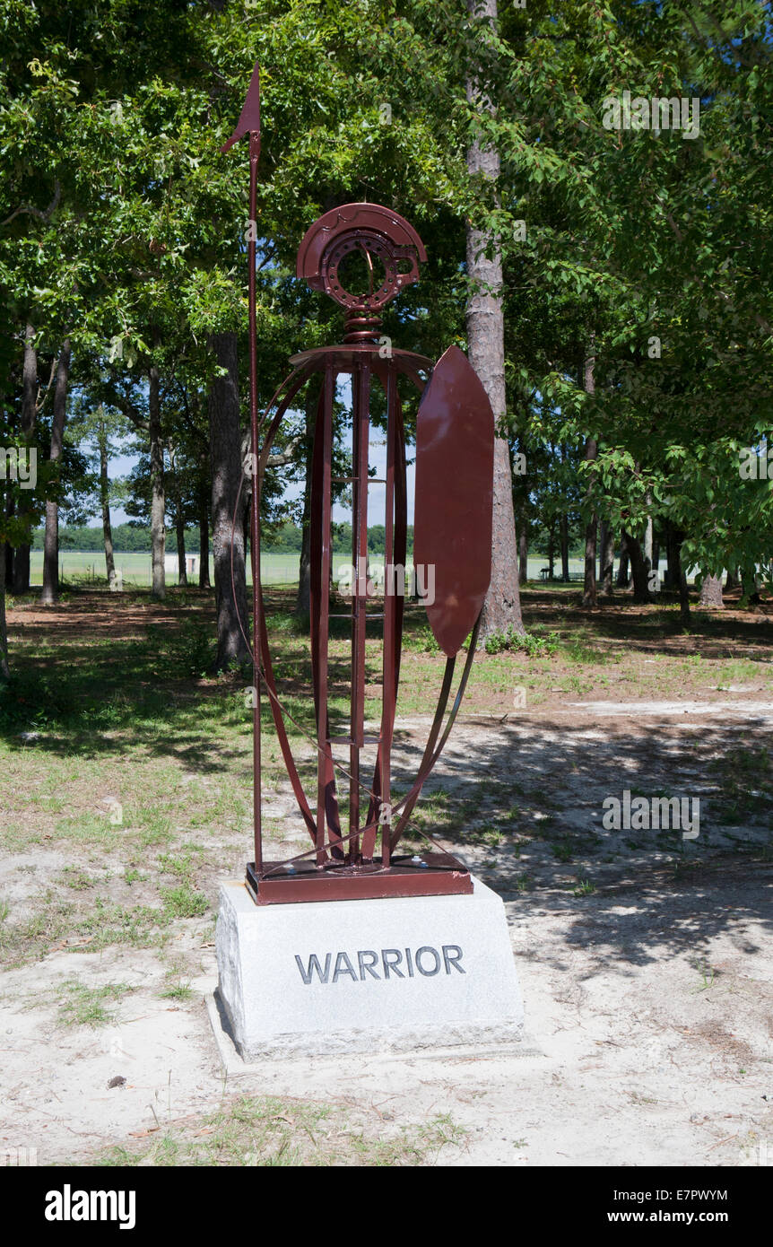 Statue 'The Warrior' honoring those who served in the military, by Dr. Richard A. Fahy at Warbird Park, - Stock Image