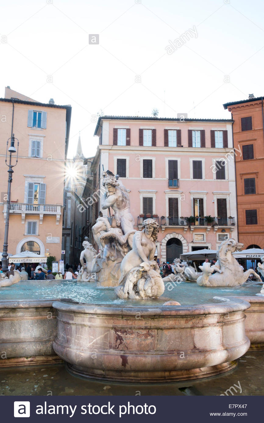 Fontana del Nettuno in Piazza Navona, Rome, Italy - Stock Image