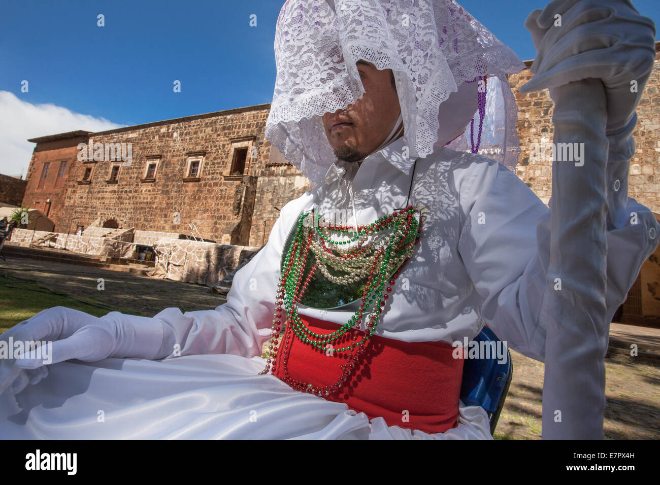 The character of the White Centurion during the Passion Play in Tzintzuntzan, Michoacan, Mexico. - Stock Image