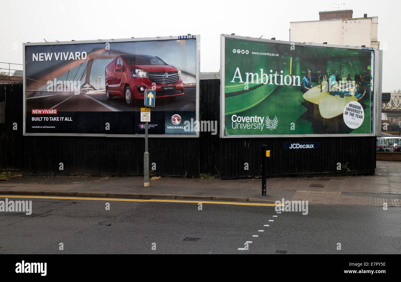 Roadside hoardings, Leamington Spa, UK - Stock Image