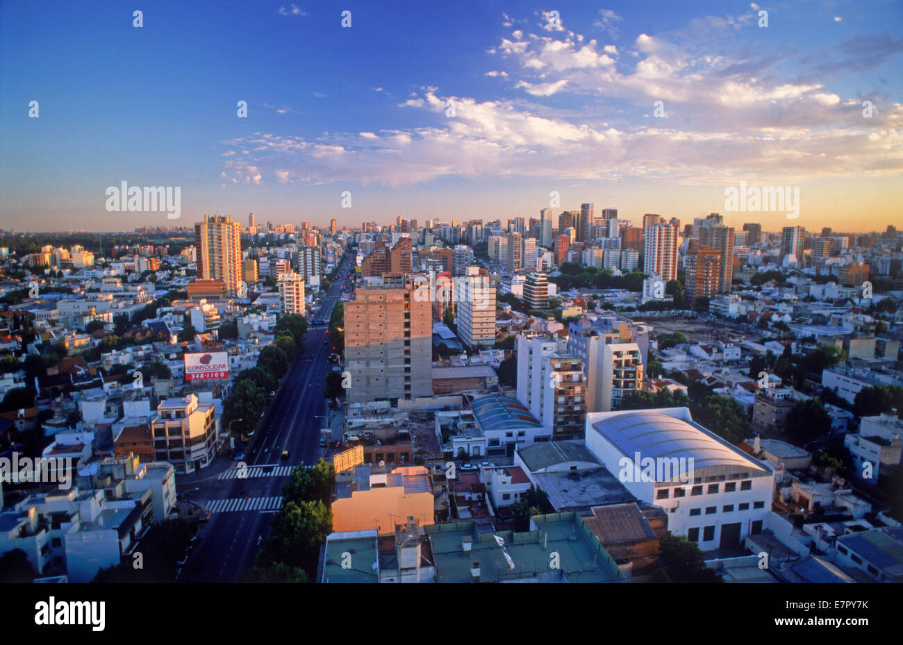 Overview of white homes in River Plata and Belgrano suburb with Stadium in Buenos Aires - Stock Image