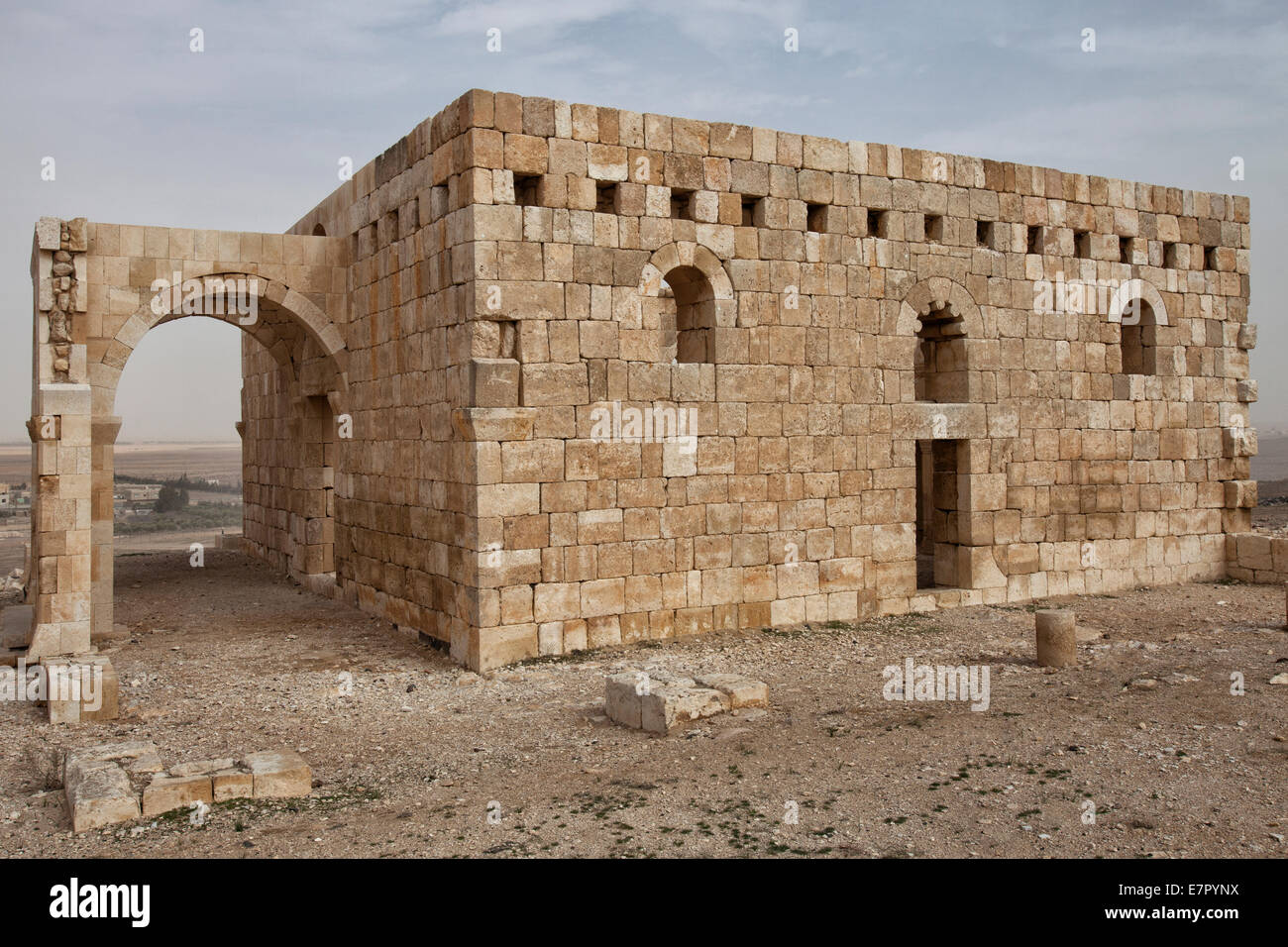 Exterior view of Qasr Hallabat an Umayyad Caliphate architecture style mosque located in Jordan's eastern deserti Stock Photo