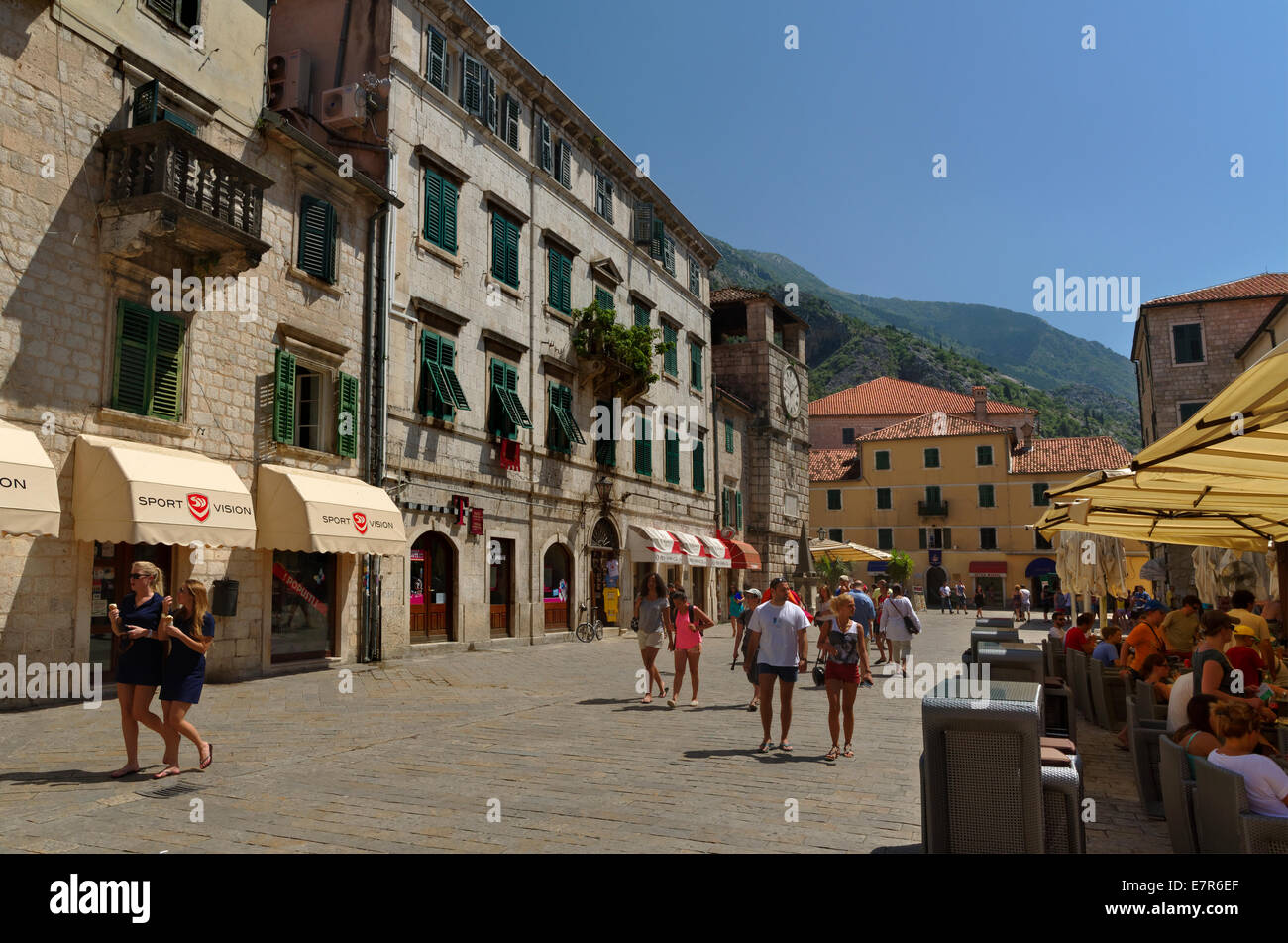 Square of Arms, Old town of Kotor, Montenegro. - Stock Image
