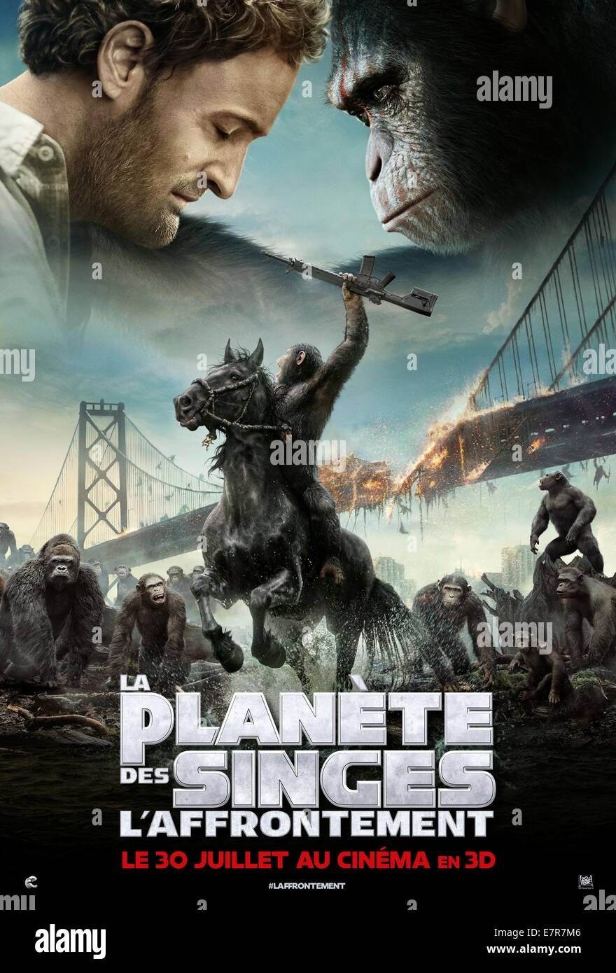 Dawn of the Planet of the Apes Year : 2014 USA Director : Matt Reeves Movie poster (Fr) - Stock Image