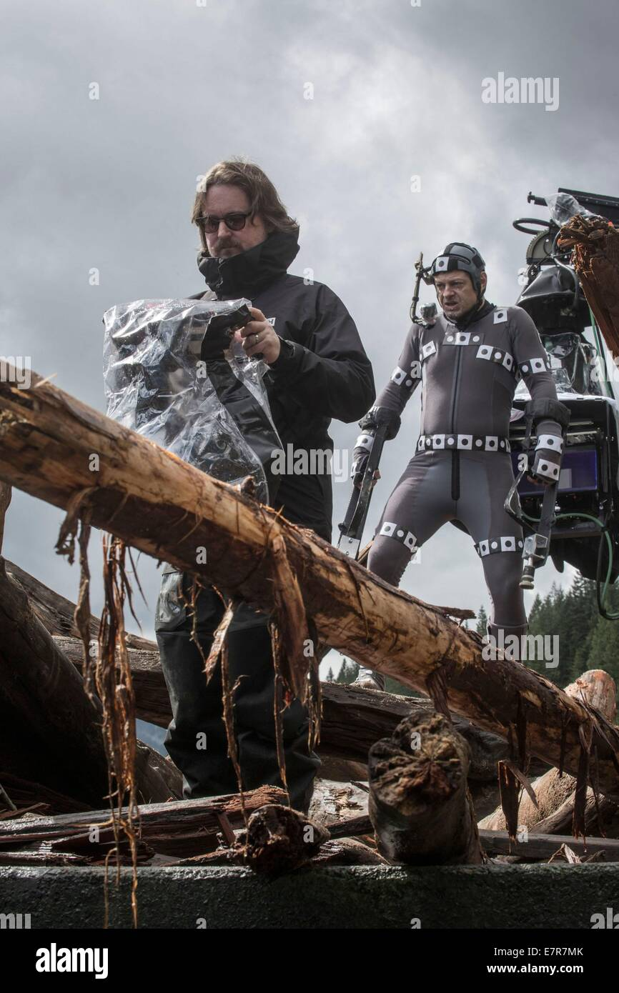 Dawn of the Planet of the Apes Year : 2014 USA Director : Matt Reeves Matt Reeves, Andy Serkis Shooting picture - Stock Image