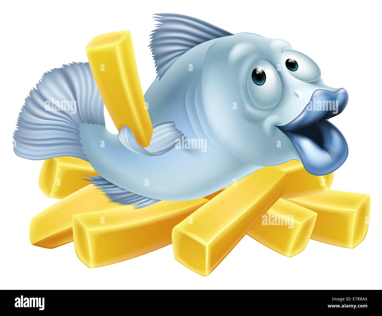 fish and chips illustration of a happy fish character lying n chips rh alamy com fish and chips cartoon wiki fish and chips cartoon images