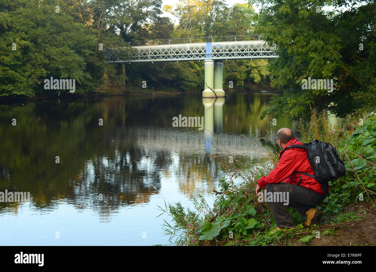 Barnard Castle, County Durham, UK. 23rd September 2014. UK Weather. Walker admires the view over the River Tees - Stock Image