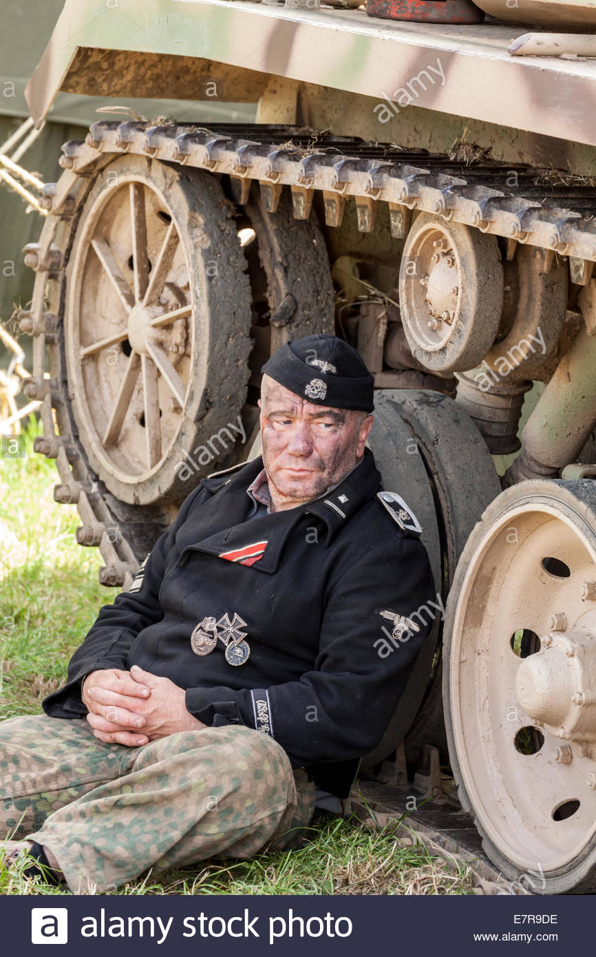 World War Two Re-enactment. German Army.  Sergeant of the 1st SS Panza Division - Stock Image