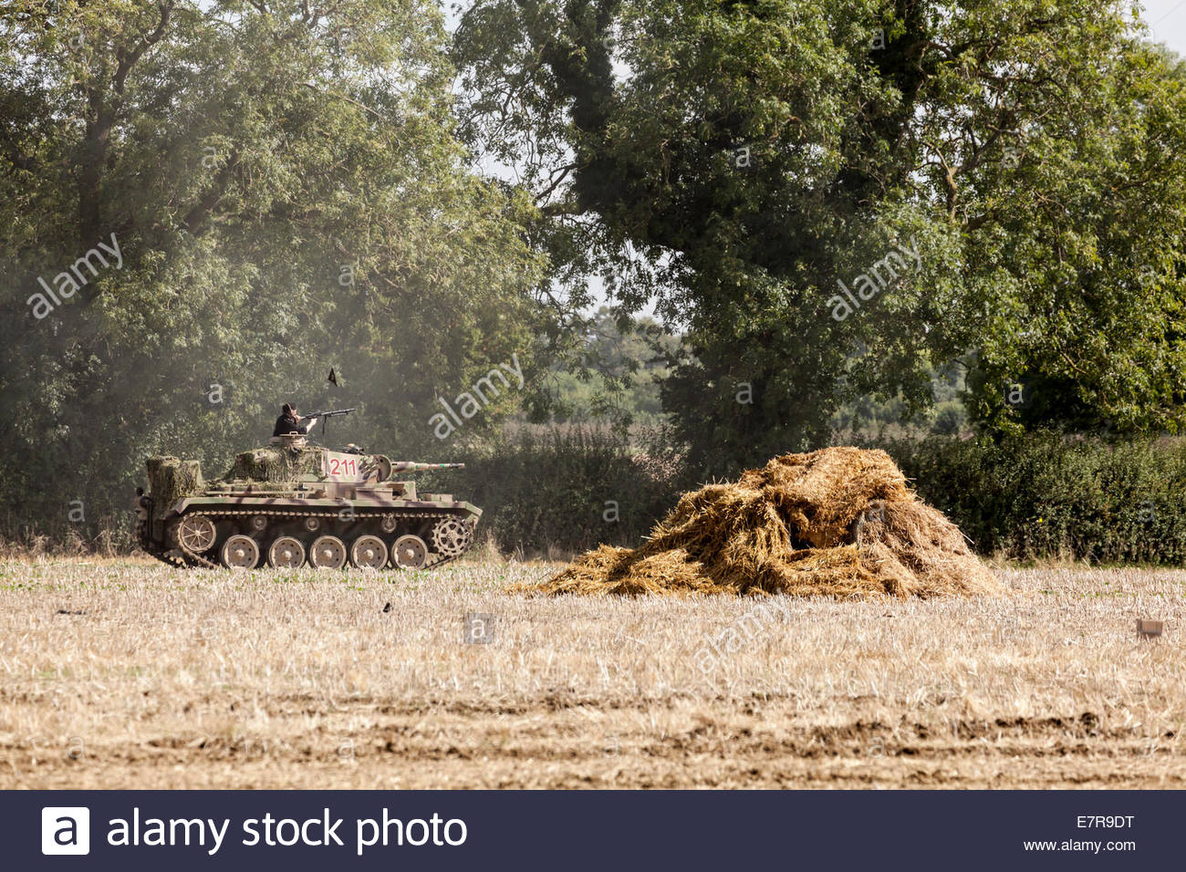 World War Two Re-enactment.  German tank and Panza division soldier - Stock Image