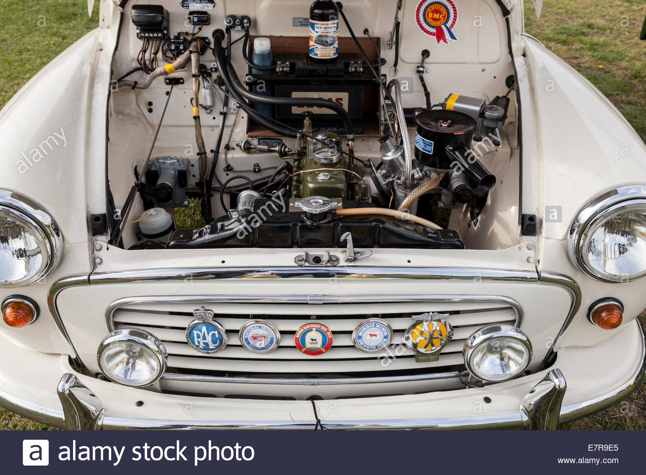 Engine bay of Morris Minor car - manufacture date 1960 Stock Photo
