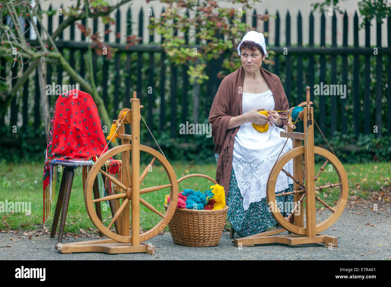 woman, spinning wheel Stock Photo