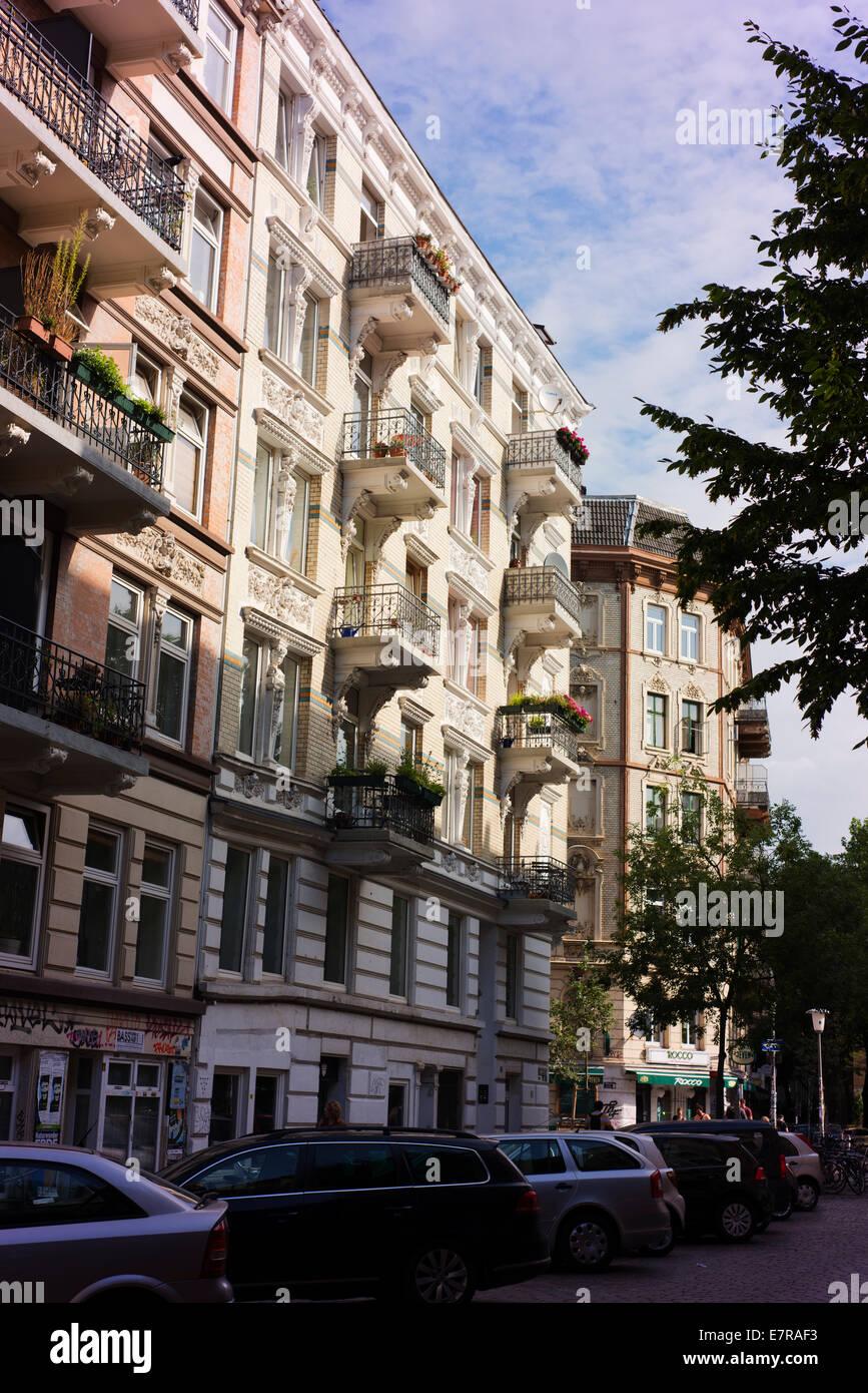 Apartment buildings in Hamburg's St Pauli district. Stock Photo