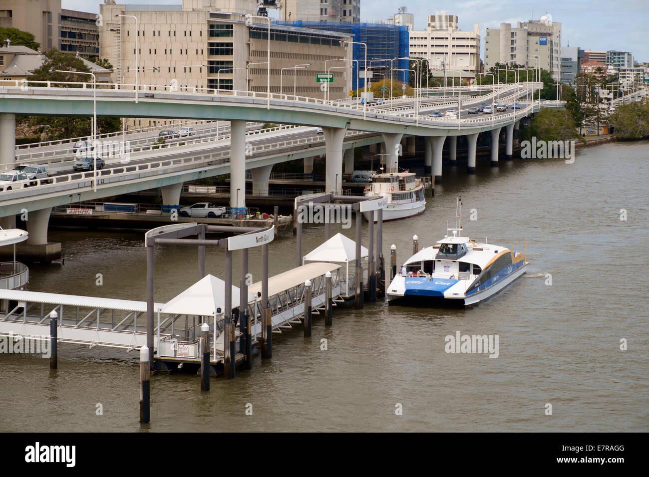 Brisbane Citycat on the Brisbane River - Stock Image