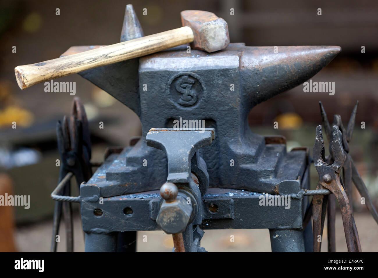 anvil blacksmith tools - Stock Image