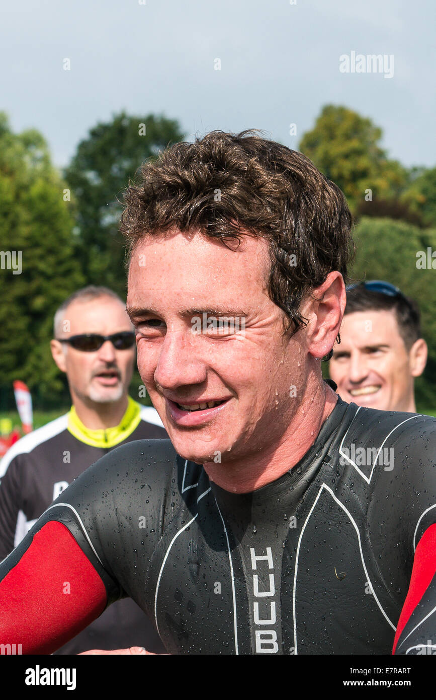 Alistair Brownlee wearing a Huub wetsuit at the Brownlee Tri North Triathlon at Harewood house in Leeds - Stock Image