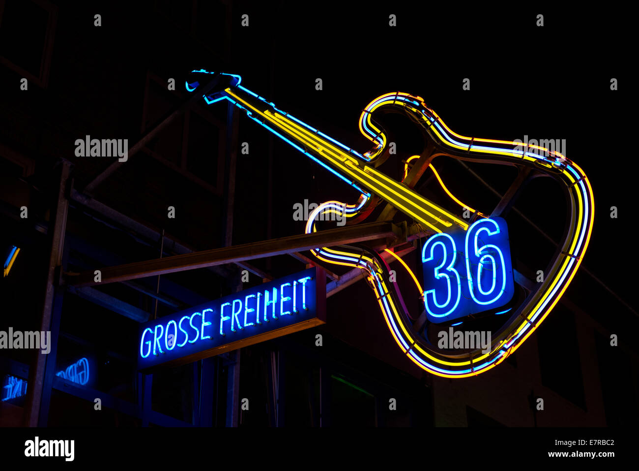 36 Grosse Freiheit, where The Beatles played in the 1960s is in Hamburg's Reeperbahn district. Stock Photo