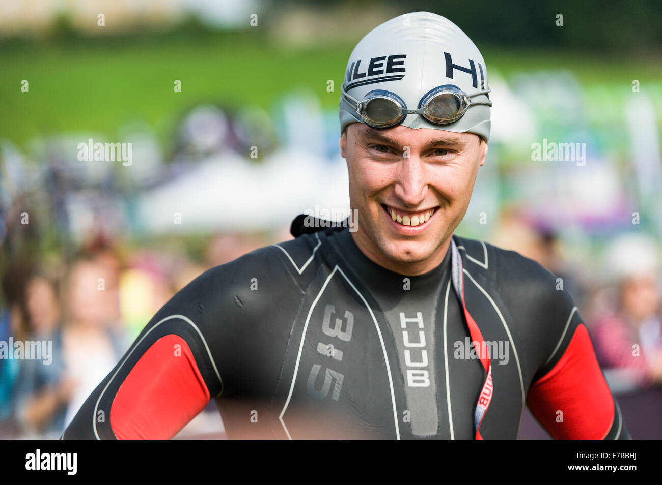 Competitor ready for the swim at the Brownlee Tri North Triathlon at Harewood house wearing a wetsuit and goggles - Stock Image