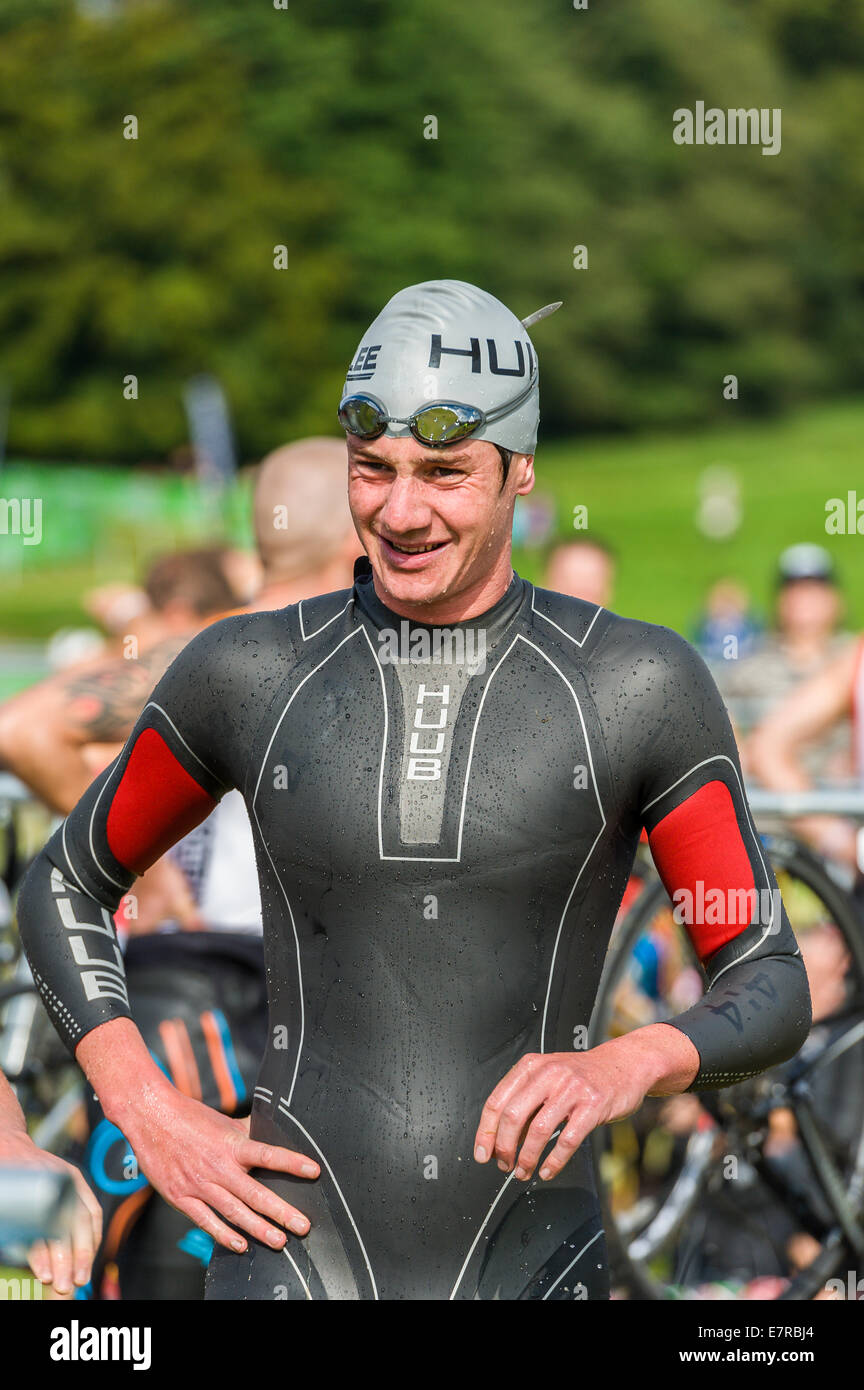 Alistair Brownlee wearing a Huub wetsuit at the MacMillan Triathlon at Harewood house in Leeds - Stock Image