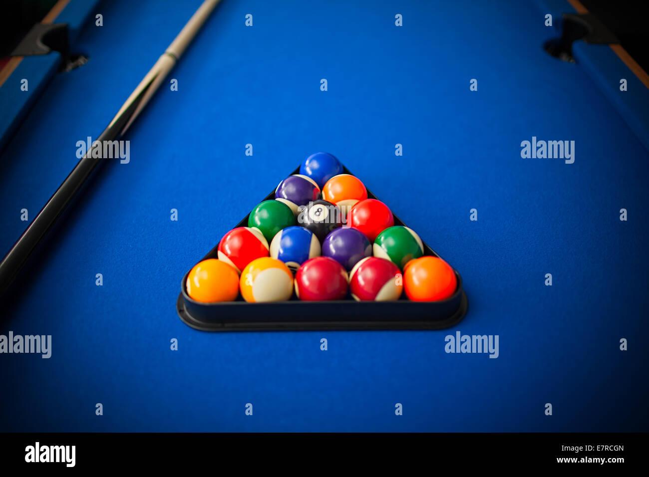 pool balls on table - Stock Image