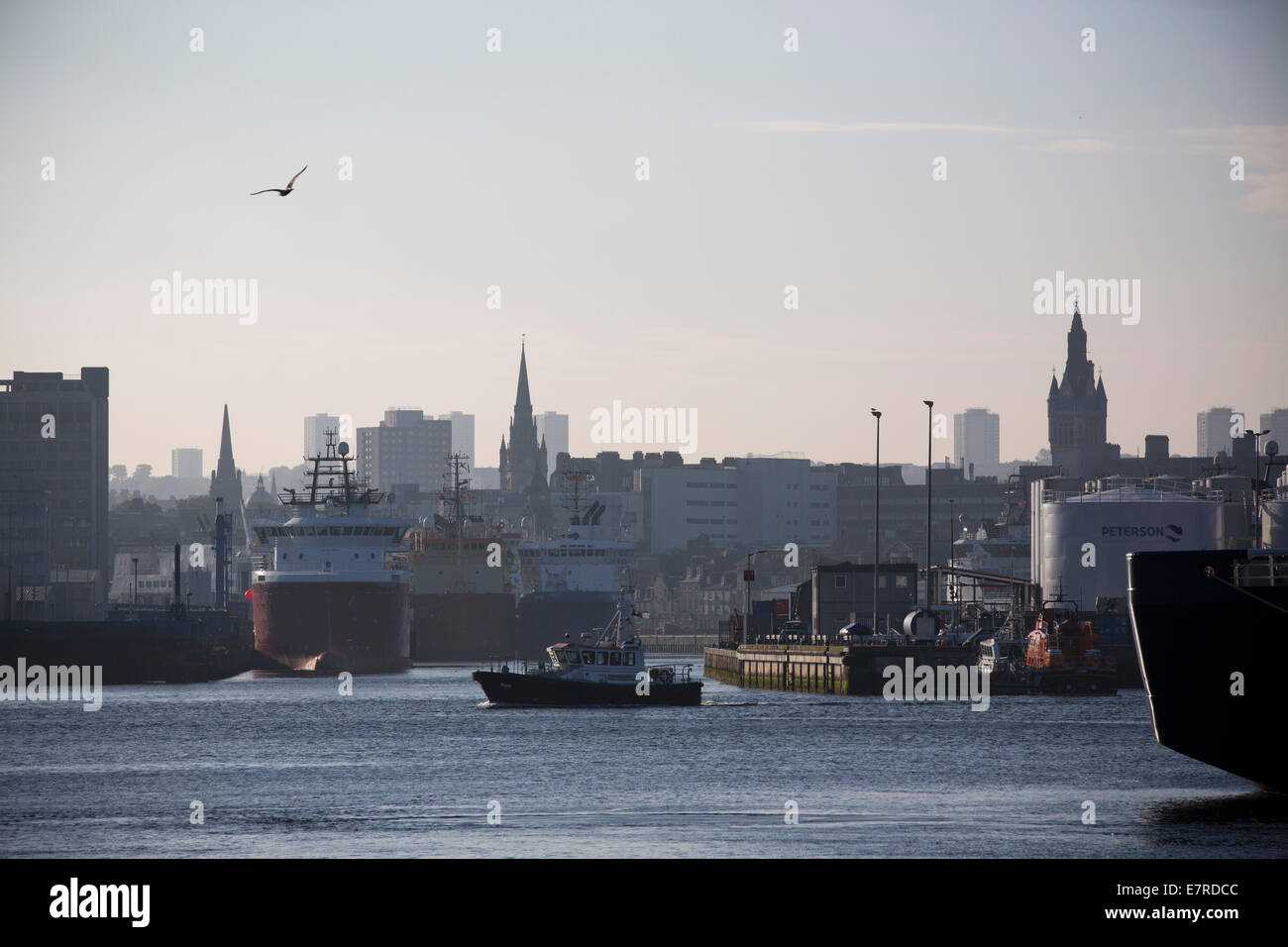 A view towards the city centre from Aberdeen harbour, the Scotland's North Sea oil and gas transportation and - Stock Image