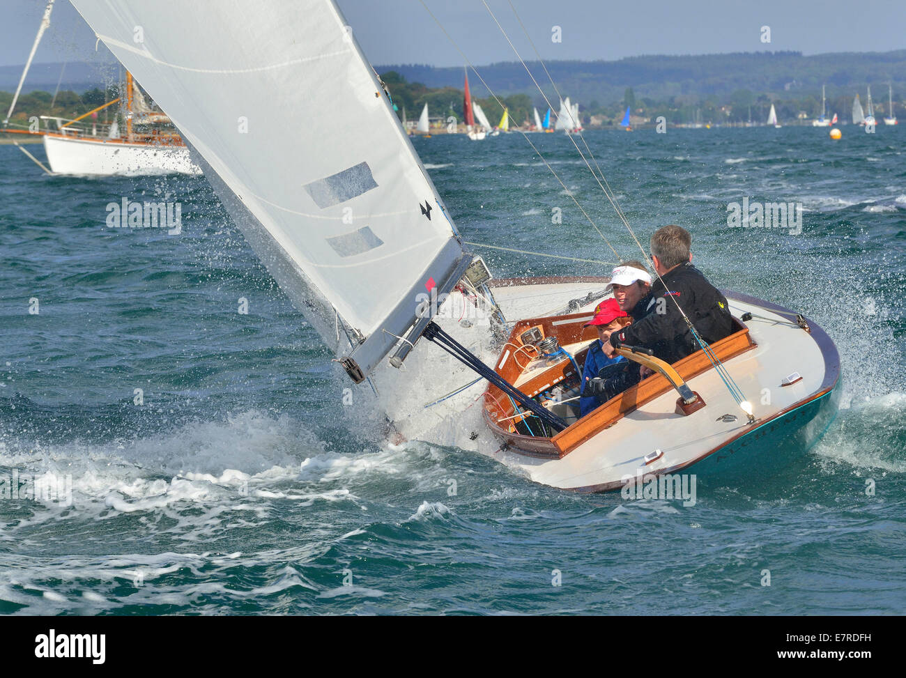 Sunbeam  keel class 'Alchemy ,boat racing with family in Chichester Harbour West Sussex in perfect wind conditions - Stock Image
