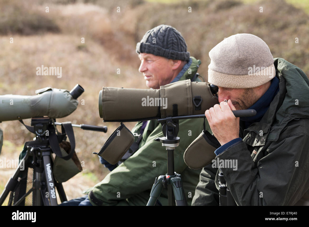Close up of bird watchers with telescope on tripod in winter. - Stock Image