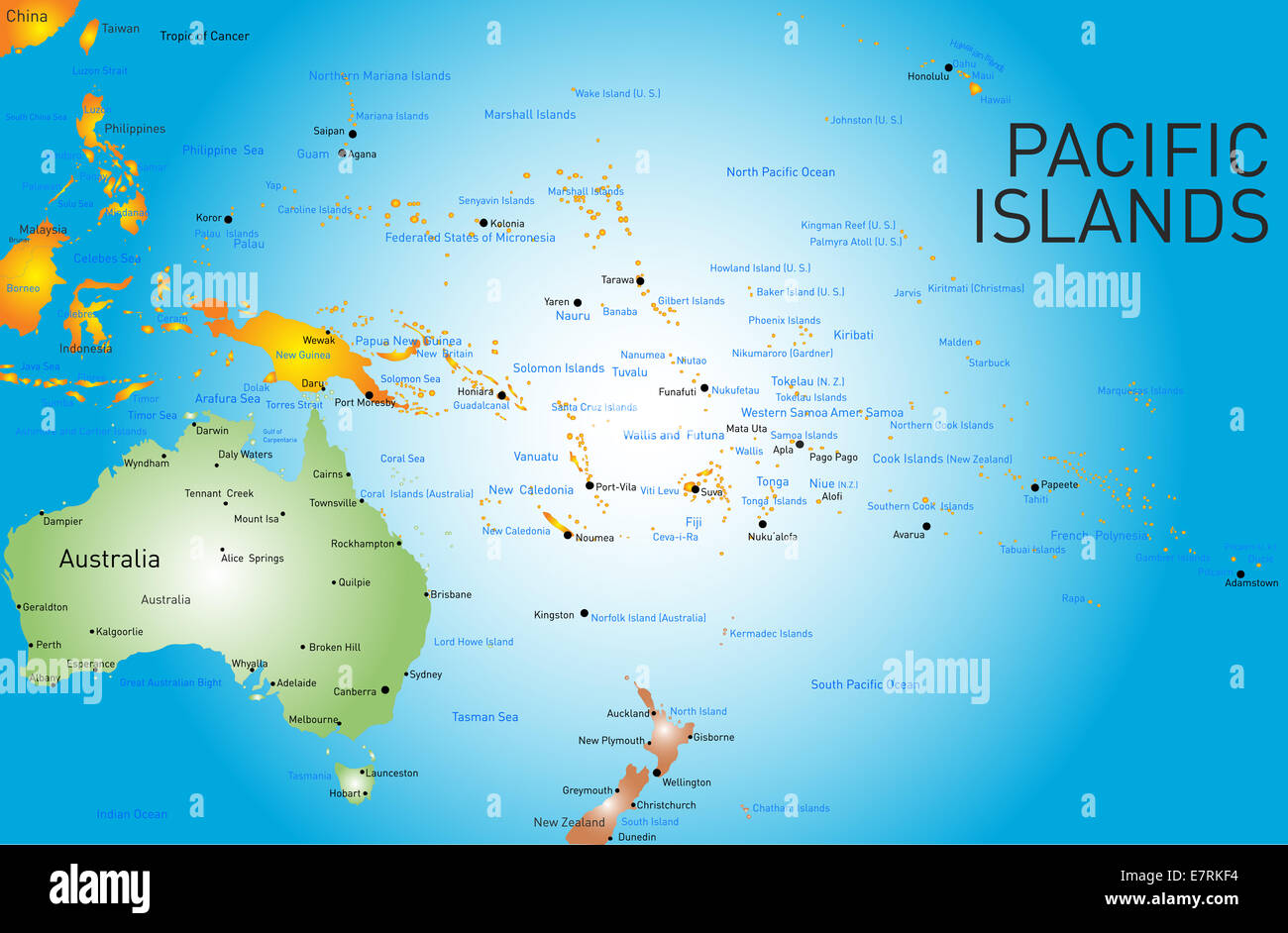 Pacific Islands Map pacific islands map Stock Photo: 73664280   Alamy Pacific Islands Map