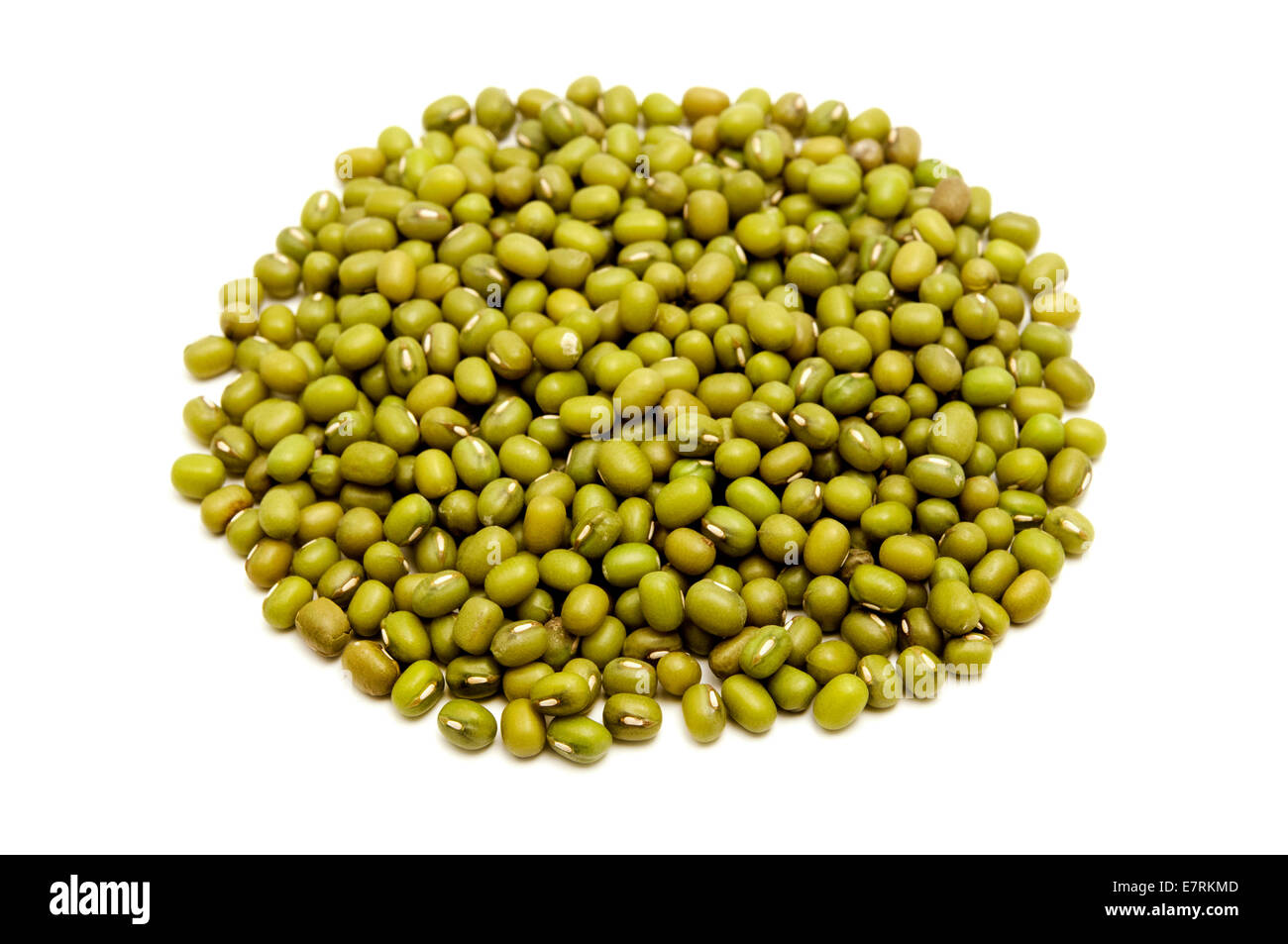 Mung beans on a white background - Stock Image