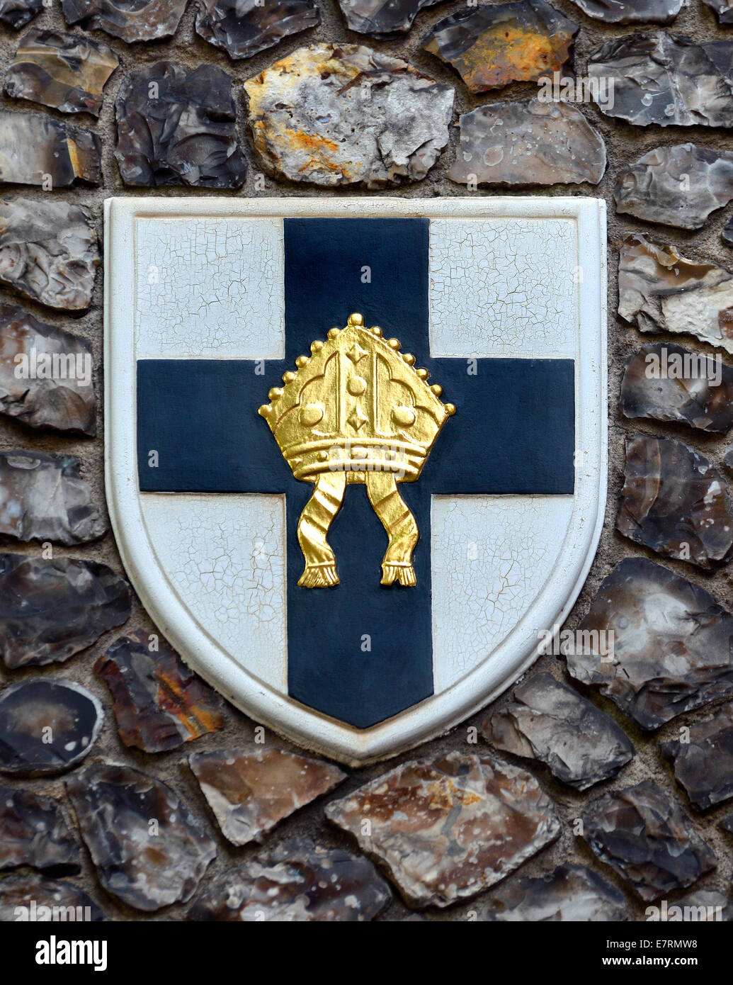 London, England, UK. Church House in Deans Yard, Westminster. Coat of arms set in the outside wall:  diocese of - Stock Image