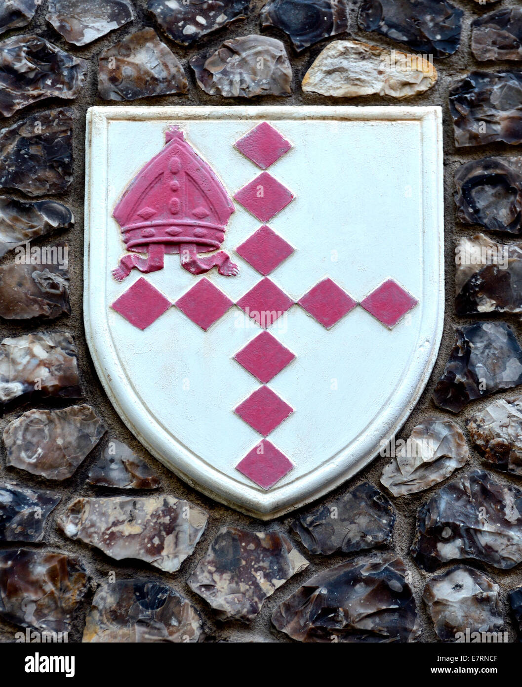 London, England, UK. Church House in Deans Yard, Westminster. Coat of arms set in the outside wall: diocese of Southwark - Stock Image