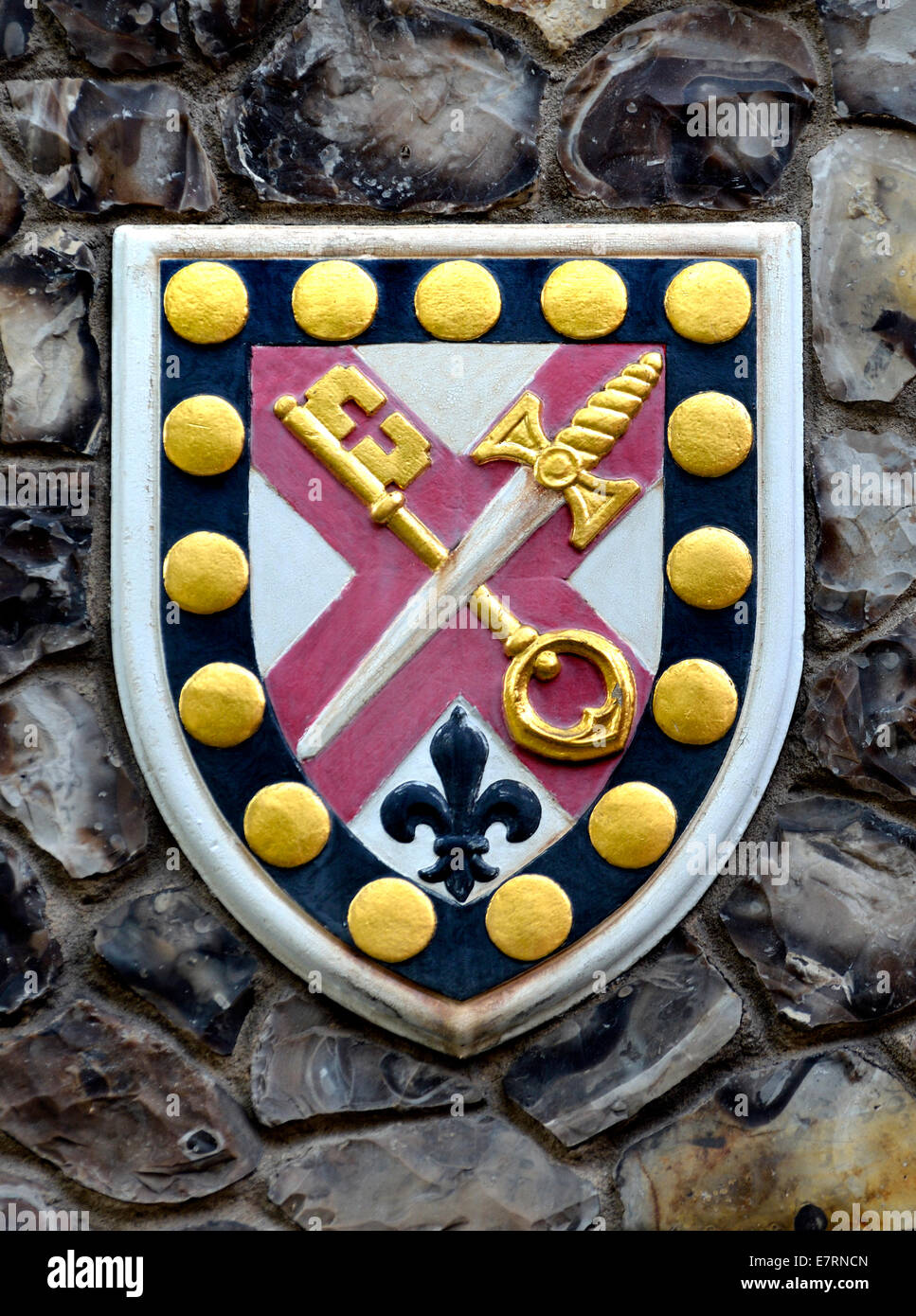 London, England, UK. Church House in Deans Yard, Westminster. Coat of arms set in the outside wall: diocese of Truro - Stock Image
