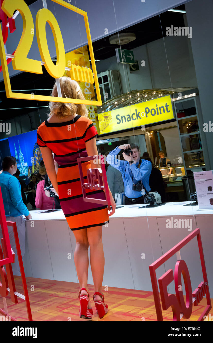 Carefully designed Samsung booth at the trade fair Photokina in Cologne, in September 2014. Stock Photo